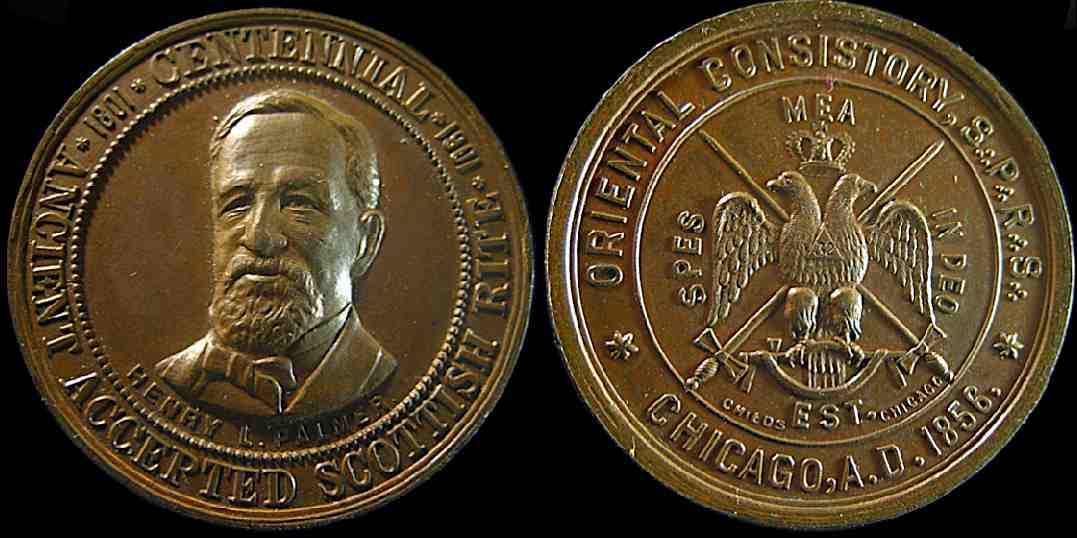 Ancient Accepted Scottish Rite Oriental Consistory Chicago 1801 1901 medal