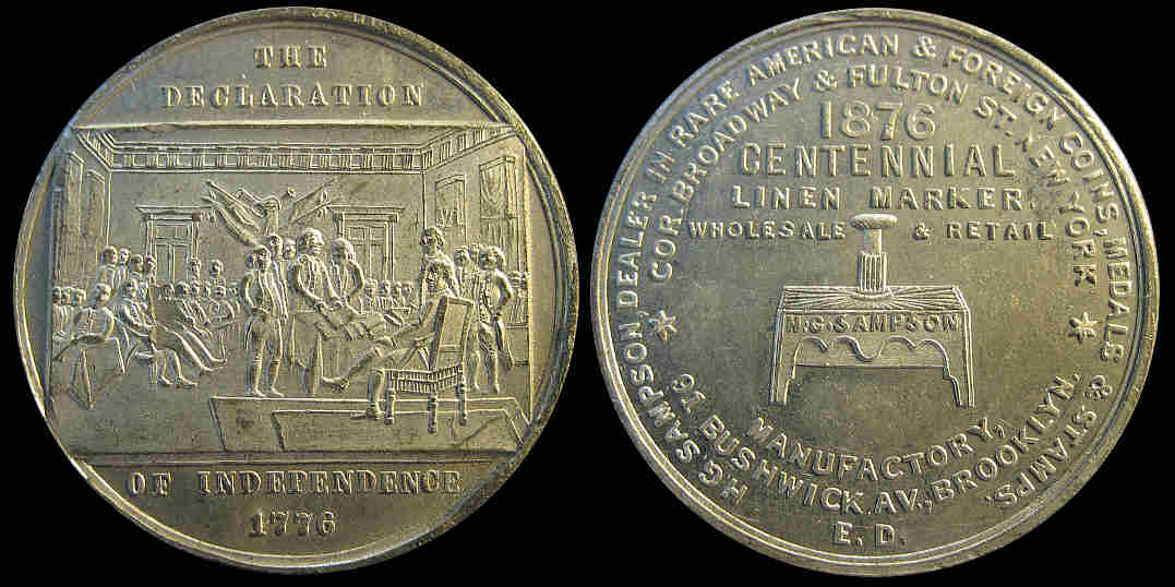 Sampson coin dealer Declaration of Independence 1876 Centennial medal