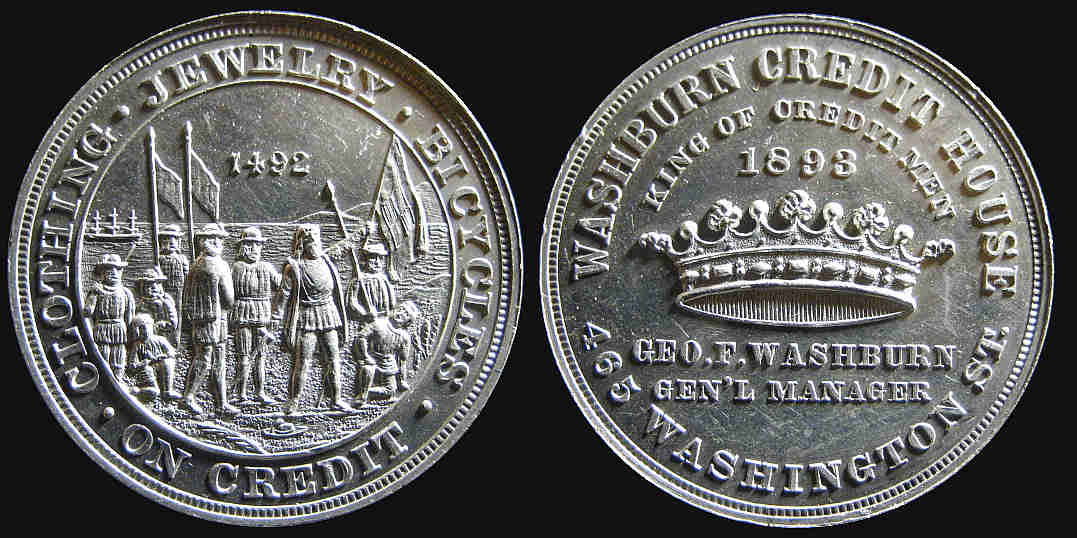 World Columbian Exposition Washburn Credit House 1492 1893 medal