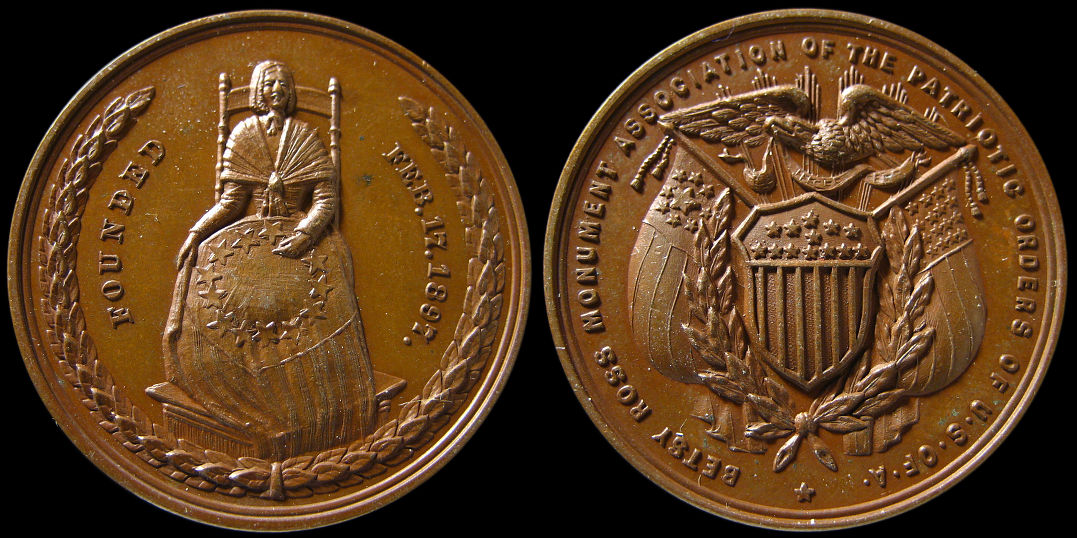 Betsy Ross Monument Association Patriotic Orders U.S. of A. Medal