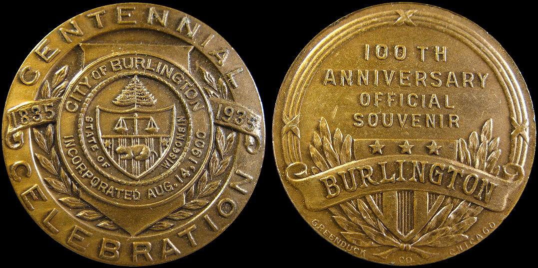 City of Burlington 100th Anniversary Souvenir 1835-1935 Medal