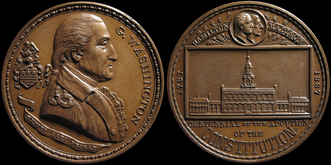 Centennial of the Adoption of the Constitution Washington 1887 Medal