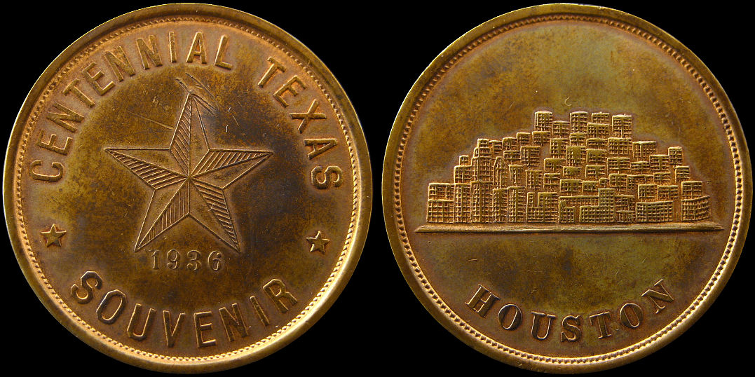 Centennial Texas Souvenir 1936 Houston Medal