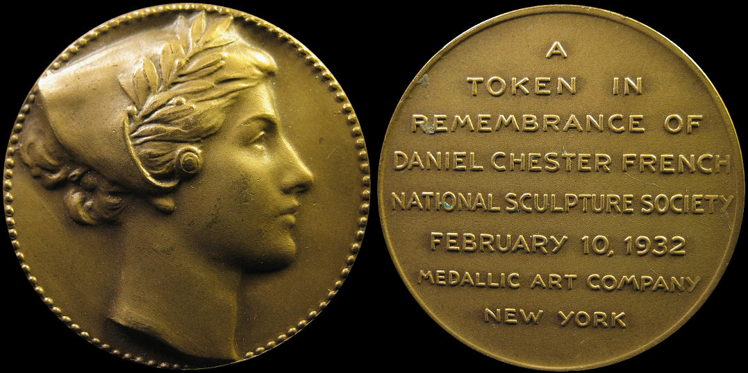 Remembrance of Daniel Chester French Medallic Art Company 1932 Token