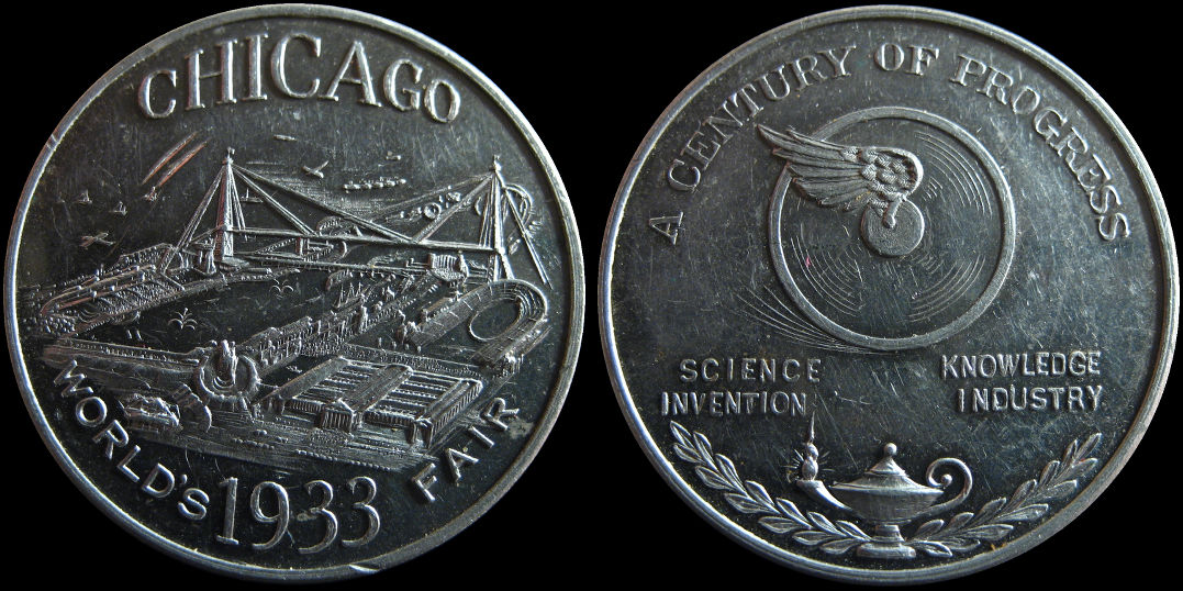 Worlds 1933 Fair Chicago Science Knowledge Invention Industry Medal