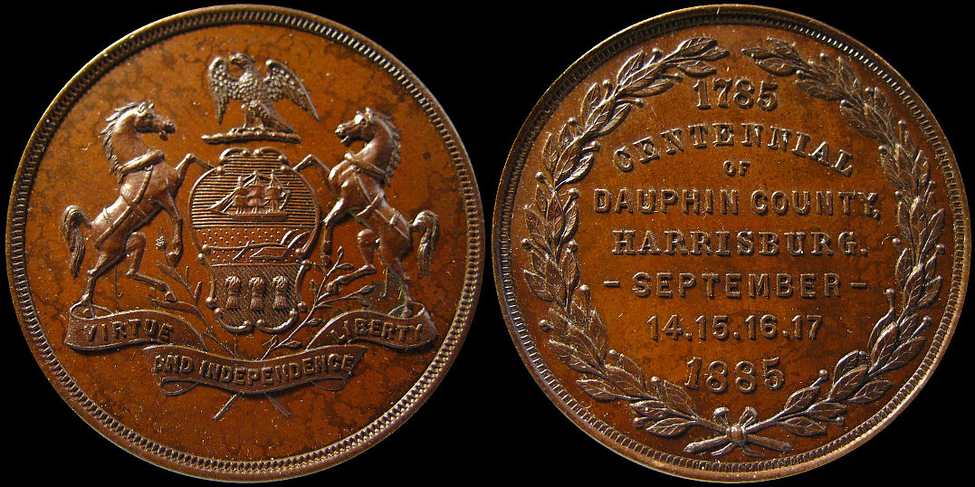 Centennial of Dauphin County Harrisburg September 1885 Medal