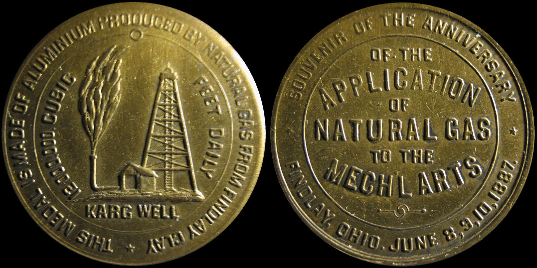 Made Of Aluminum Produced By Natural Gas Findlay Clay Karg Well Medal
