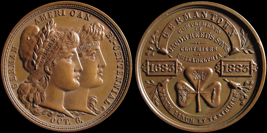 German American Bi-centennial 1883 Germantown Jacob Reeds Medal