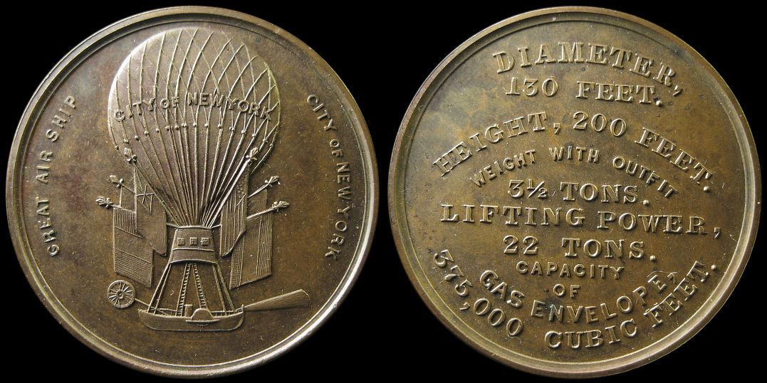 City of New York Great Air Ship Balloon Thaddeus Lowe Medal