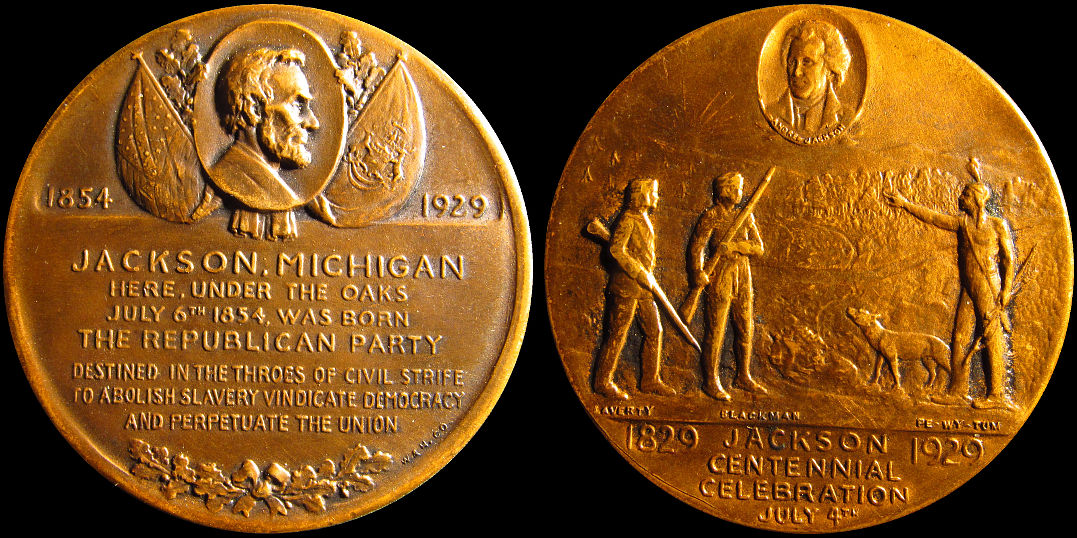 Jackson Michigan Centennial Republican Party 1929 Under Oaks Medal