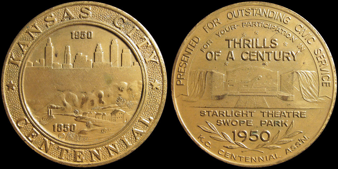 Kansas City Centennial Thrills of a Century 1950 Starlight Theatre Medal
