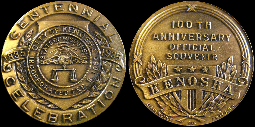 City of Kenosha 100th Anniversary Souvenir 1835-1935 Medal
