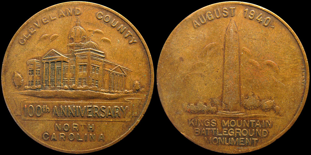Cleveland County North Carolina 1940 Kings Mountain Monument Medal