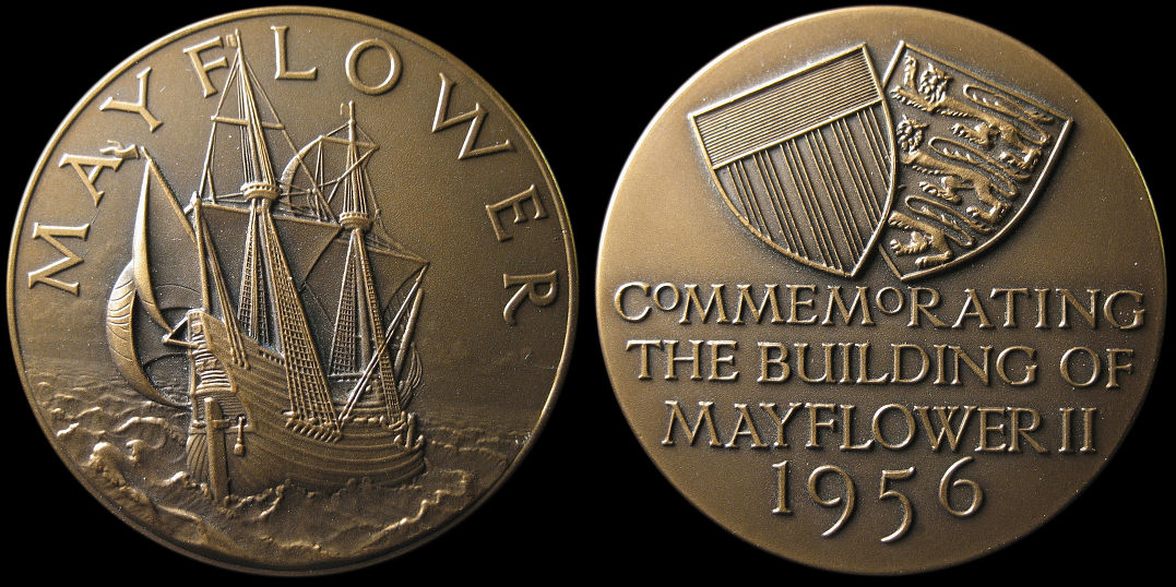 Commemorating The Building Of Mayflower II 1956 Medal