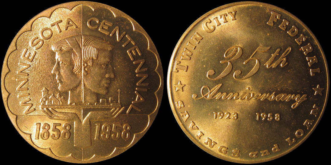 Twin City Federal Savings and Loan Minnesota Centennial 1958 Medal