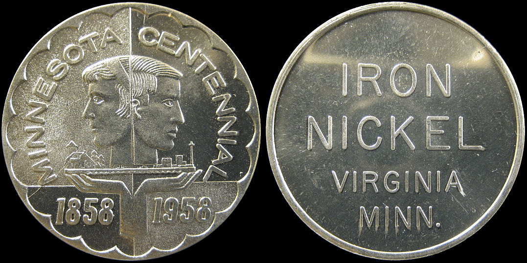 Minnesota Centennial 1858 1958 Iron Nickel Virginia Medal
