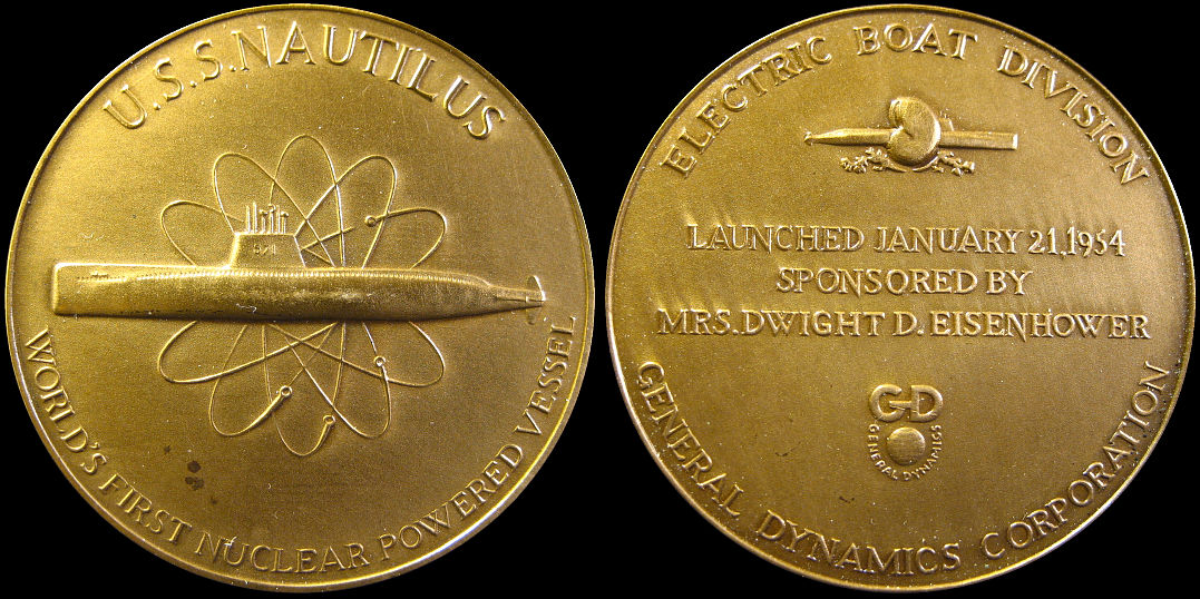 U.S.S. Nautilus Nuclear Powered Vessel General Dynamics 1954 Medal