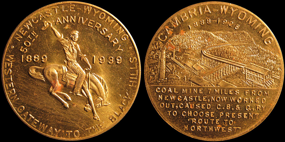 Newcastle Cambria Wyoming 50th Anniversary Coal Mine 1939 Medal