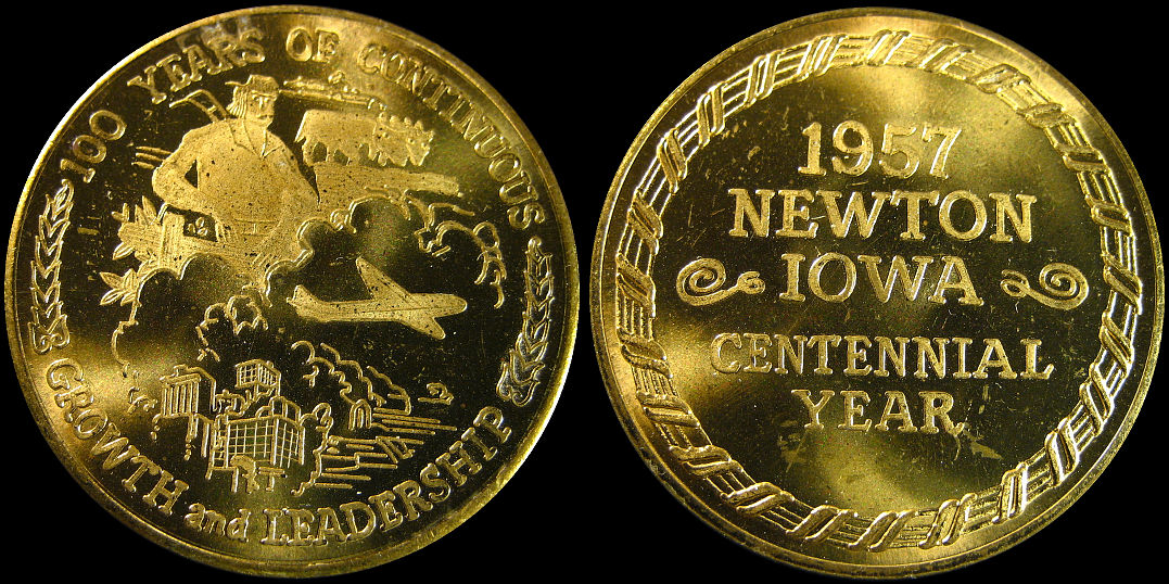 Newton Iowa Centennial Year 1957 Growth and Leadership Medal