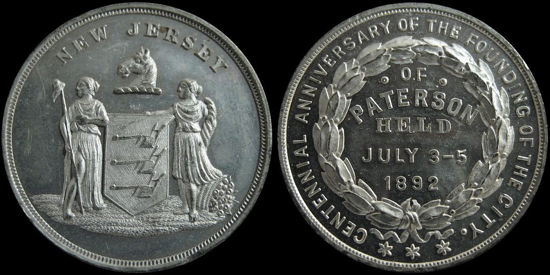 Centennial of the Founding of City of Paterson New Jersey 1892 Medal