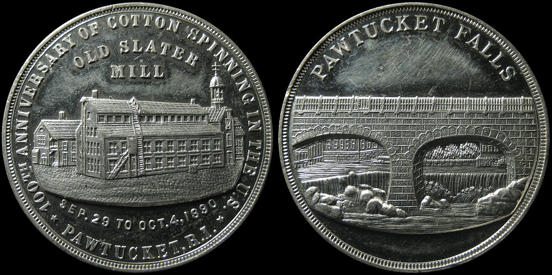 Pawtucket Falls 100th Anniversary Cotton Spinning 1890 Slater Mill Medal