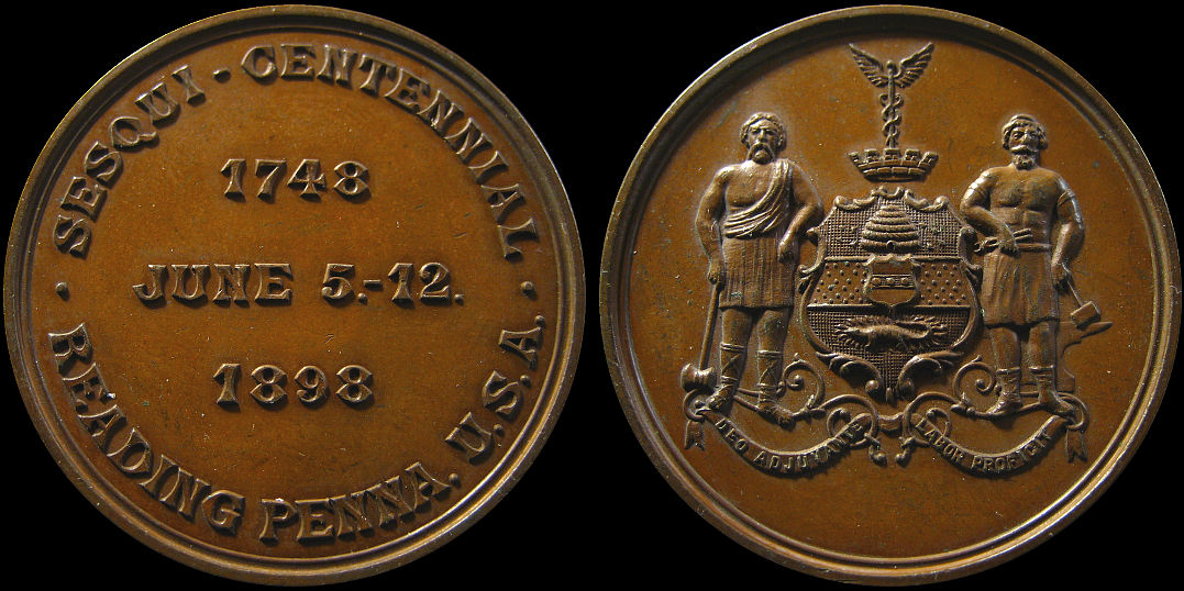 Sesqui-Centennial Reading Penna June 1898 Medal