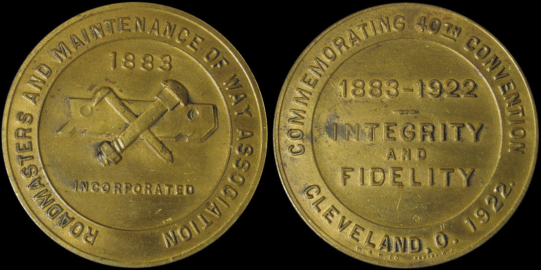 Roadmasters Maintenance Of Way Association 40th Convention Cleveland 1922 Medal