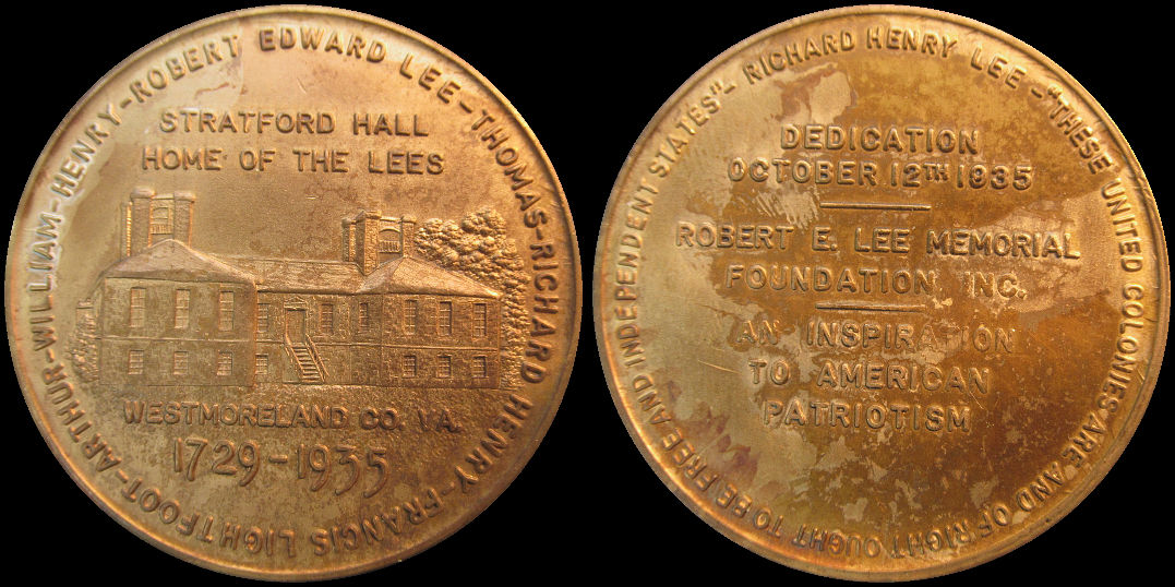 Robert E. Lee Stratford Hall Home Of The Lees Memorial 1935 Medal