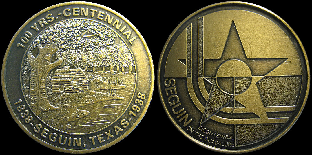 Sequin Texas Centennial and Bicentennial of the Guadalupe Medal