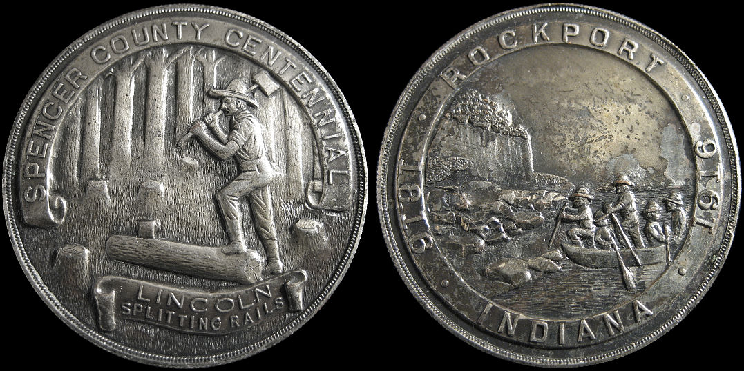 Spencer County Centennial Rockport Indiana Lincoln Splitting 1916 Medal