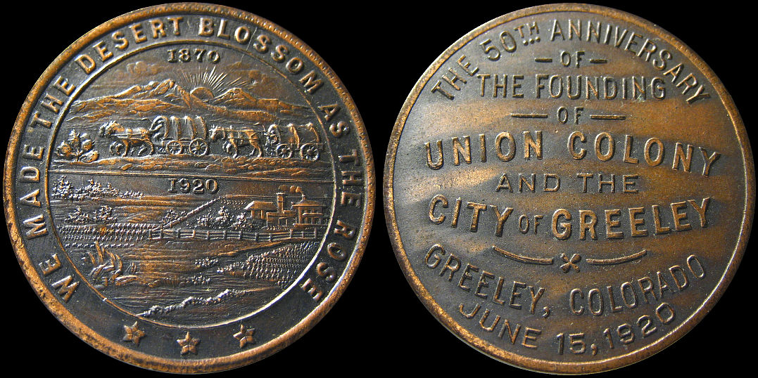 Anniversary Founding of Union Colony City of Greeley 1920 Medal