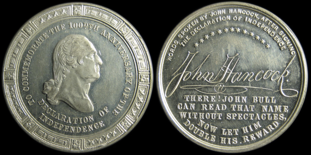 100th Anniversary Declaration of Independence Hancock medal Baker391D