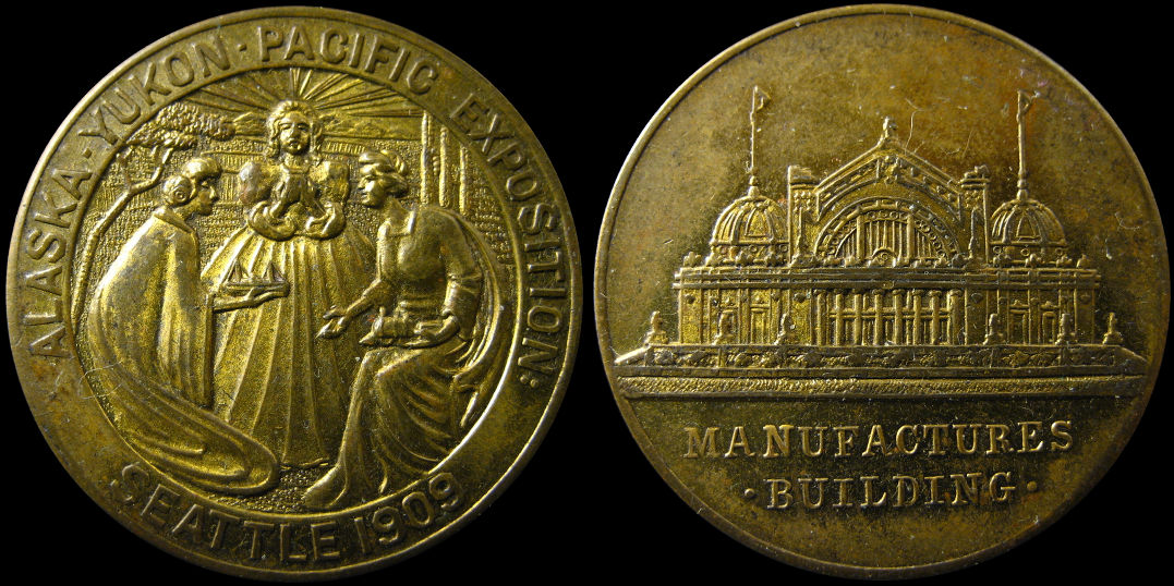 1909 Alaska Yukon Pacific Exposition Manufactures Building Medal